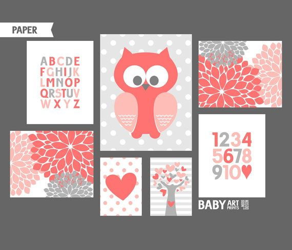 Coral Grey Girl Nursery art prints Owl Heart Tree by babyartprints