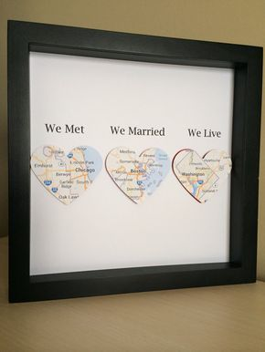 Photo of Map Heart, Paper Art in shadow box frame, We Met, We Married…