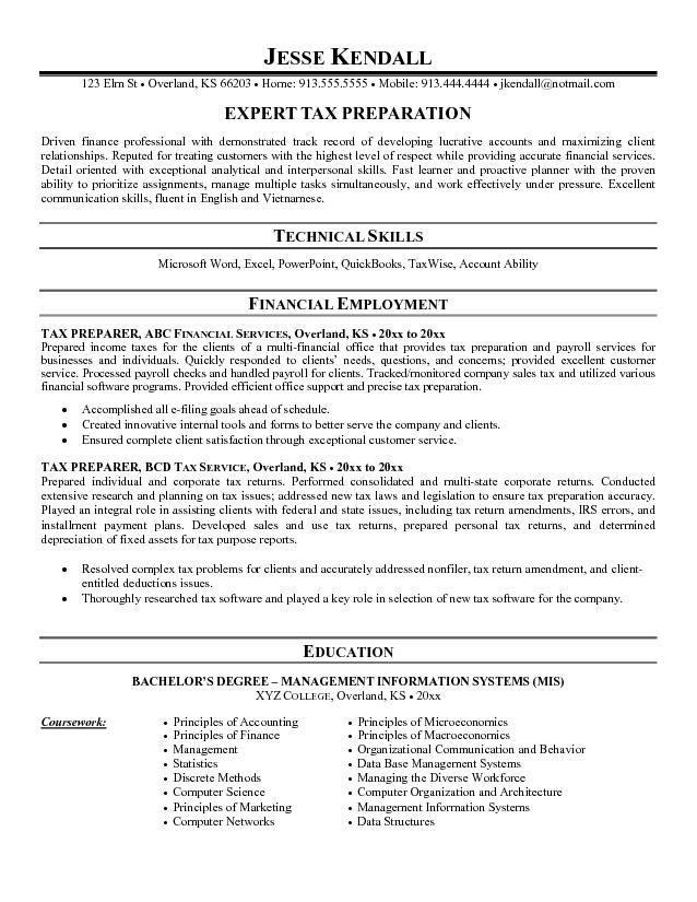 free tax preparer resume sample