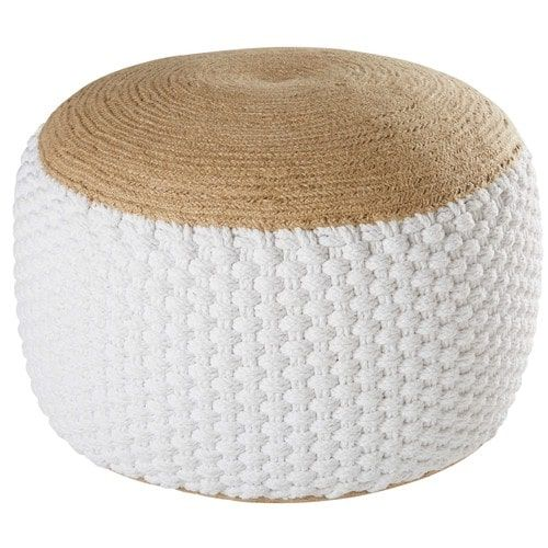 Pouf tressé en jute et coton blanc 30x60cm KNOT | Salon | Pinterest ...