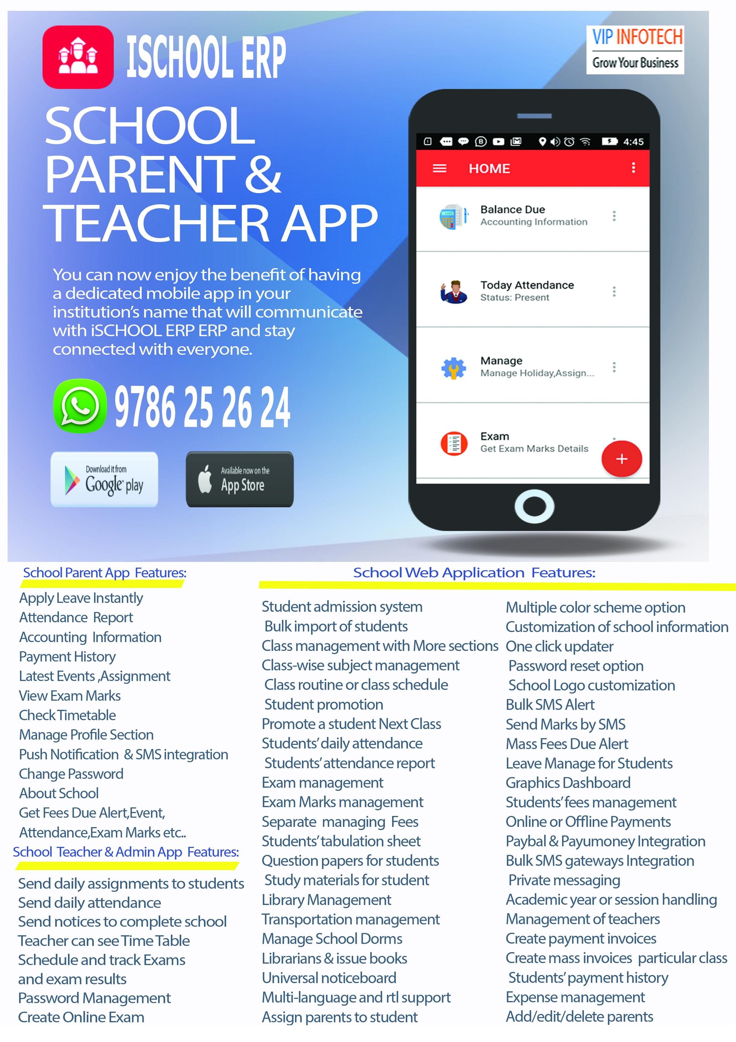 iSCHOOL ERP MODULES : iParent App Modules & Features - Apply