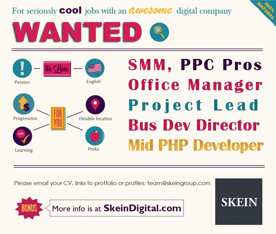 Webdesiger, SMM career, programmers we are hiring to