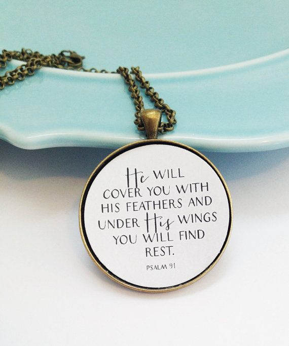 Psalm 91 Bible Verse Necklace Christian Sympathy Gift Loss Of Loved One Grief Best Friend Wife Birthday