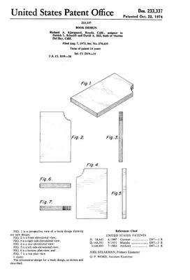 """A patent for a """"Slanted Book"""" designed in 1974 by Richard A. Kjarsgaard"""