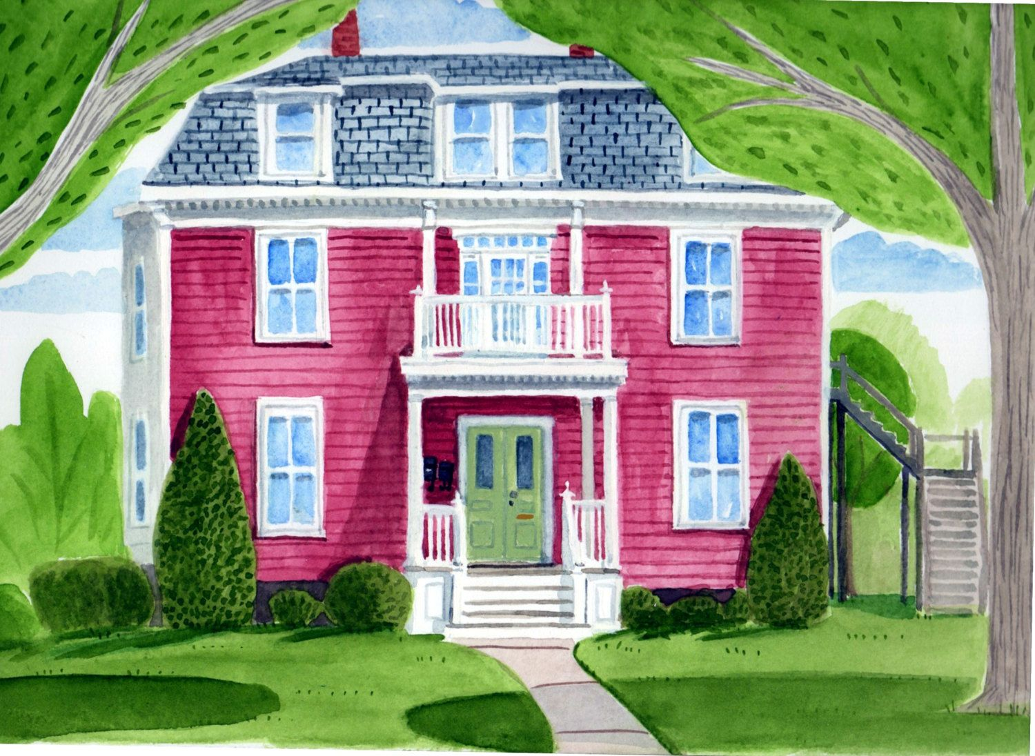 Custom Whimsical Watercolor House Portrait by PicketFencePortraits ...