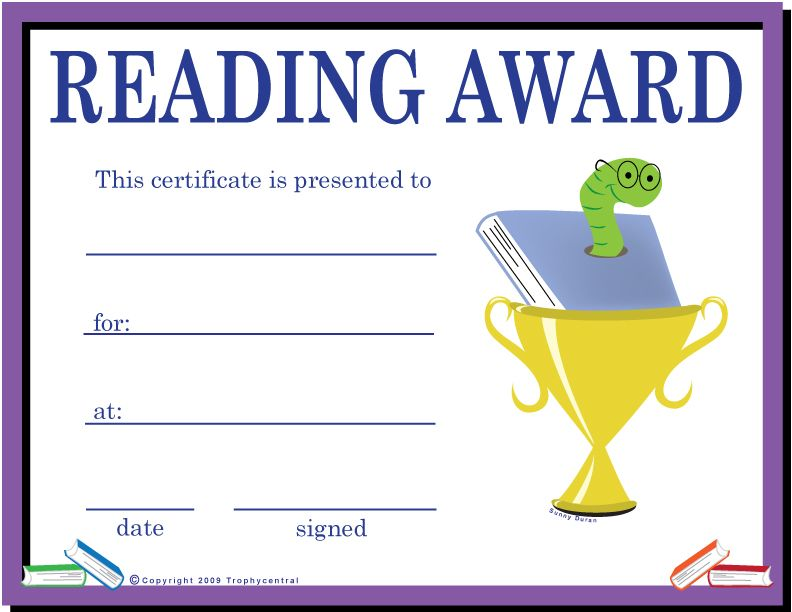 Free certificates free downloadable certificates from printable reading awards for kids yadclub Choice Image