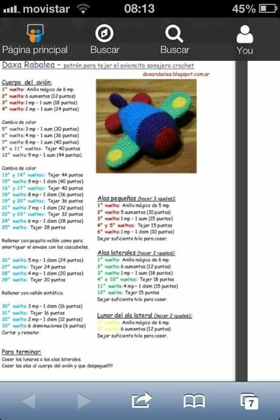 Patron avion | patrones crochet | Pinterest