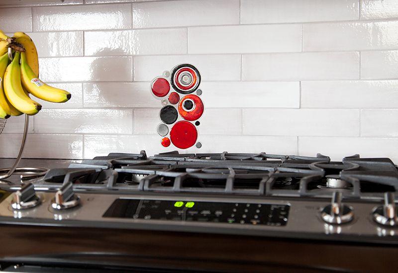 All you need is love, a dog and handmade tile - Mercury Mosaics #subwaytile #kitchentile #arttile #doglove