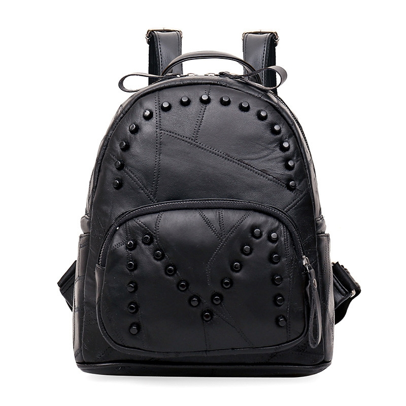 (32.32$)  Buy here  - 2017 fashion new rivets black women bags female Korean leather college wind leisure backpacks tide simple travel bag