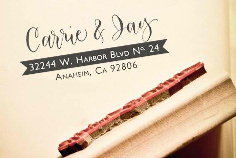 Custom Calligraphy Address Stamp -- Hand Calligraphy and Type -- Elle Style with Banner
