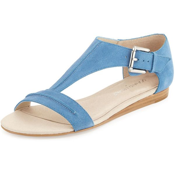 Donald J Pliner Bravo Suede T-Strap Demi-Wedge Sandal (8.175 RUB) ❤ liked on Polyvore featuring shoes, sandals, light denim, ankle strap shoes, ankle tie sandals, donald j pliner sandals, mid wedge sandals and donald j pliner shoes