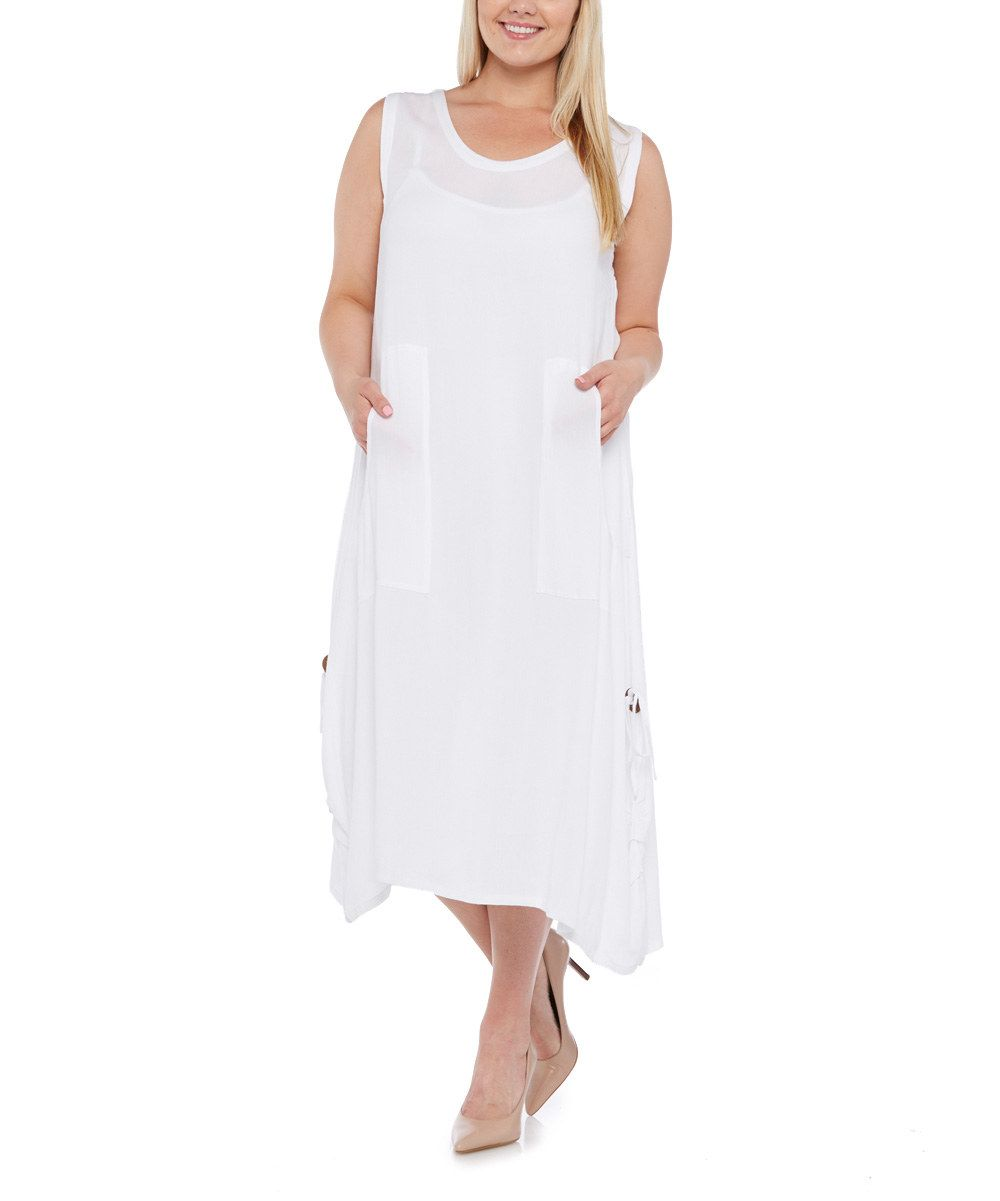 Look at this dalin white pocket maxi dress plus on zulily today
