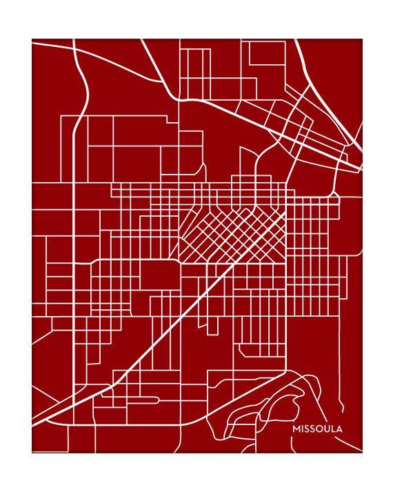 Missoula City Map Art Print University of Montana Wall Art Poster
