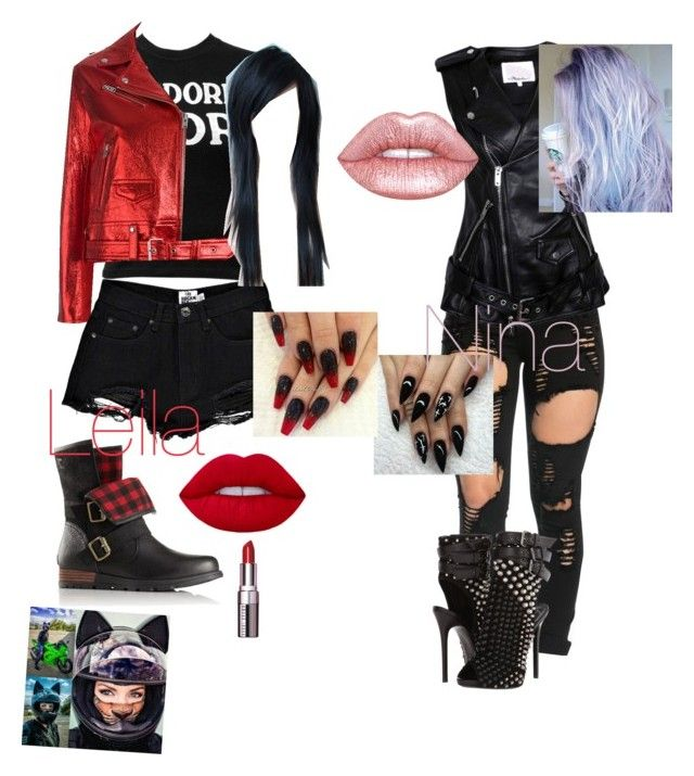 """Biker Sisters"" by jada-fletcher-1 ❤ liked on Polyvore featuring SOREL, 3.1 Phillip Lim, Giuseppe Zanotti, Christian Dior, IRO, Boohoo, Lime Crime and Bobbi Brown Cosmetics"