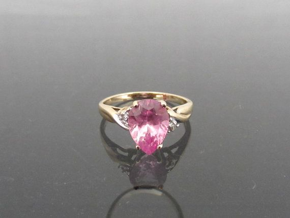 Vintage 10k Solid Yellow Gold 1 81ct Natural By Wandajewelry2013 Pink Sapphire Diamond Ring Natural Pink Sapphire Pink Sapphire