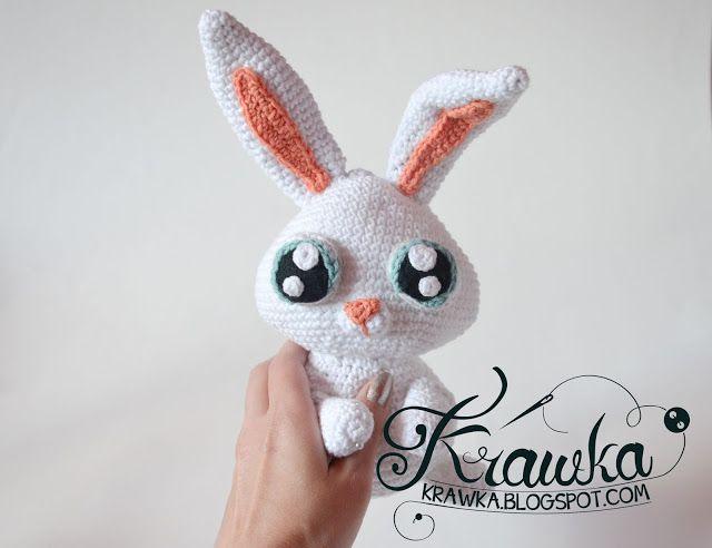 Krawka: Conejo de la bola de nieve patrón de ganchillo blanco conejo de la vida secreta de las mascotas película