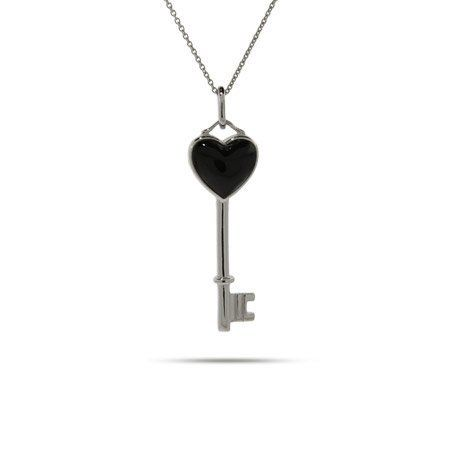 Sterling Silver Onyx Heart Key Pendant Length 20 inches (Lengths 16 inches 18 inches 20 inches Available) Eve's Addiction. $45.00. Metal Finish: rhodium-finished-sterling-silver. Approximate Weight: 2.6 grams. Charm Size: 1.25 inch