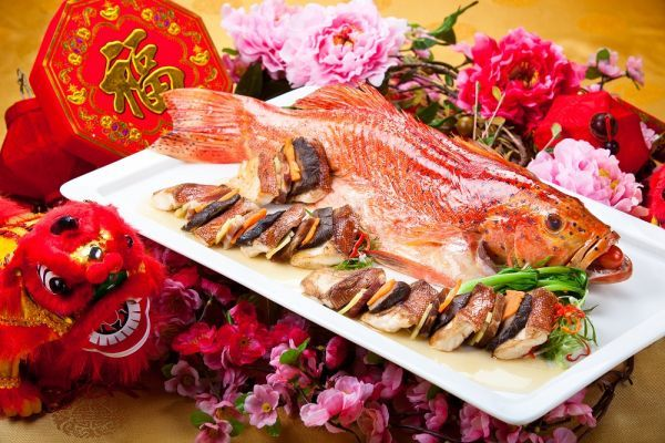 Chinese New Year Food Steamed Fish Cina