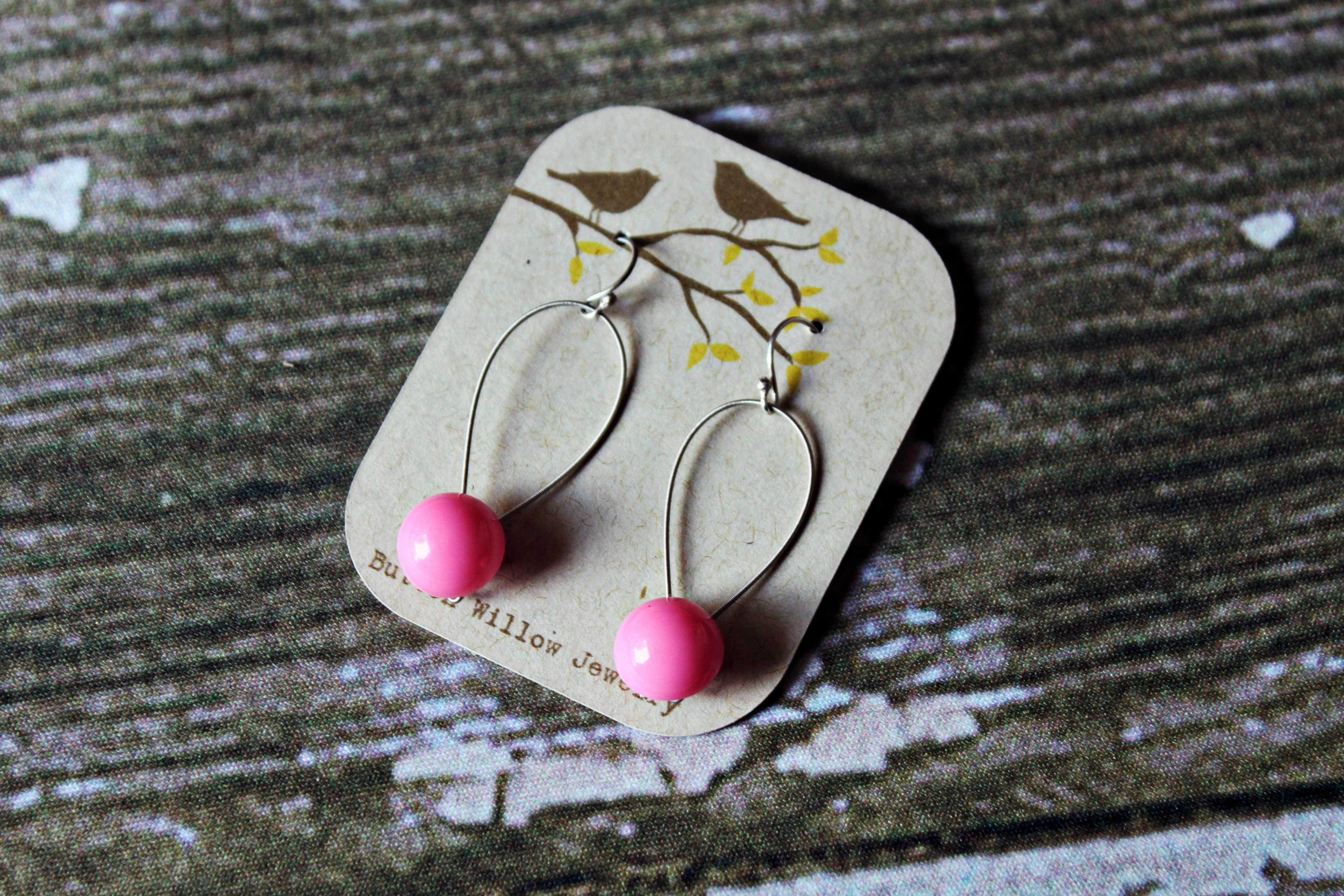Super cute pink button earrings! http://www.etsy.com/shop/ButtonWillowJewelry