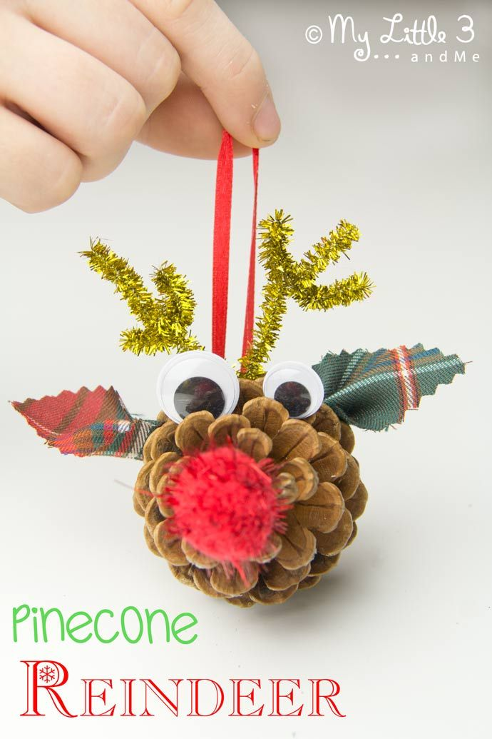 Pinecone Reindeer Homemade Ornaments Christmas Crafts