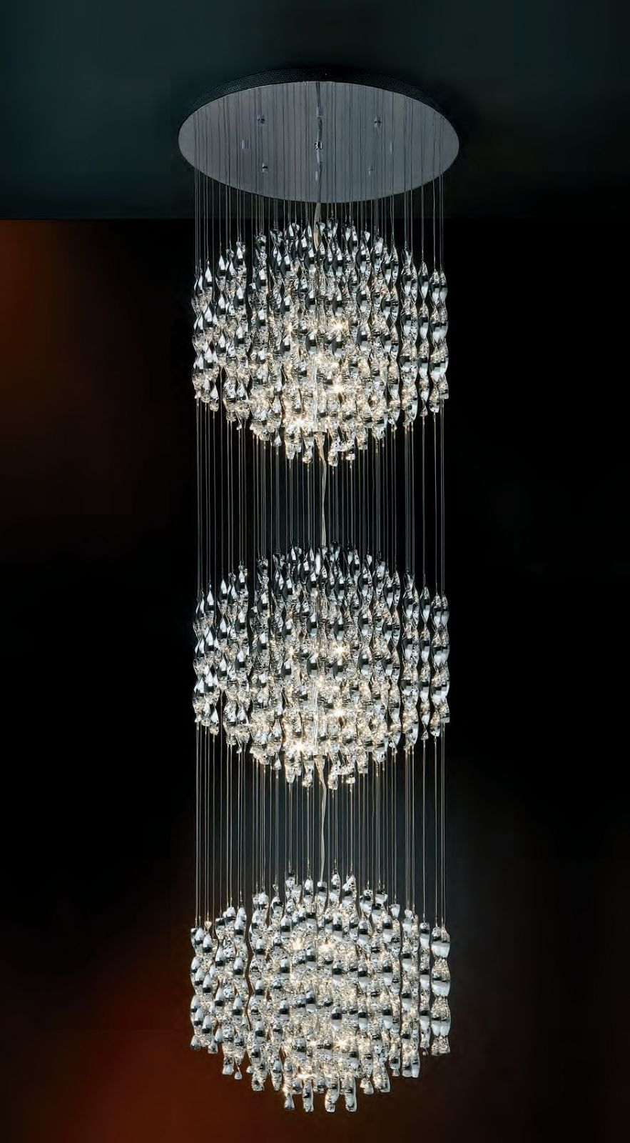 Spiral long drop triple pendant great for atriums high ceilings a hanging spiral long drop pendant in chrome prefect for installation on tall ceilings or in atriums from lighting styles arubaitofo Gallery