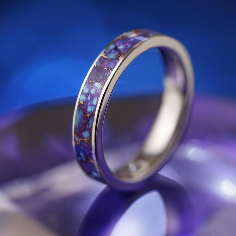 Lava Mosaic Turquoise Ring Titanium Wedding Band With Unique