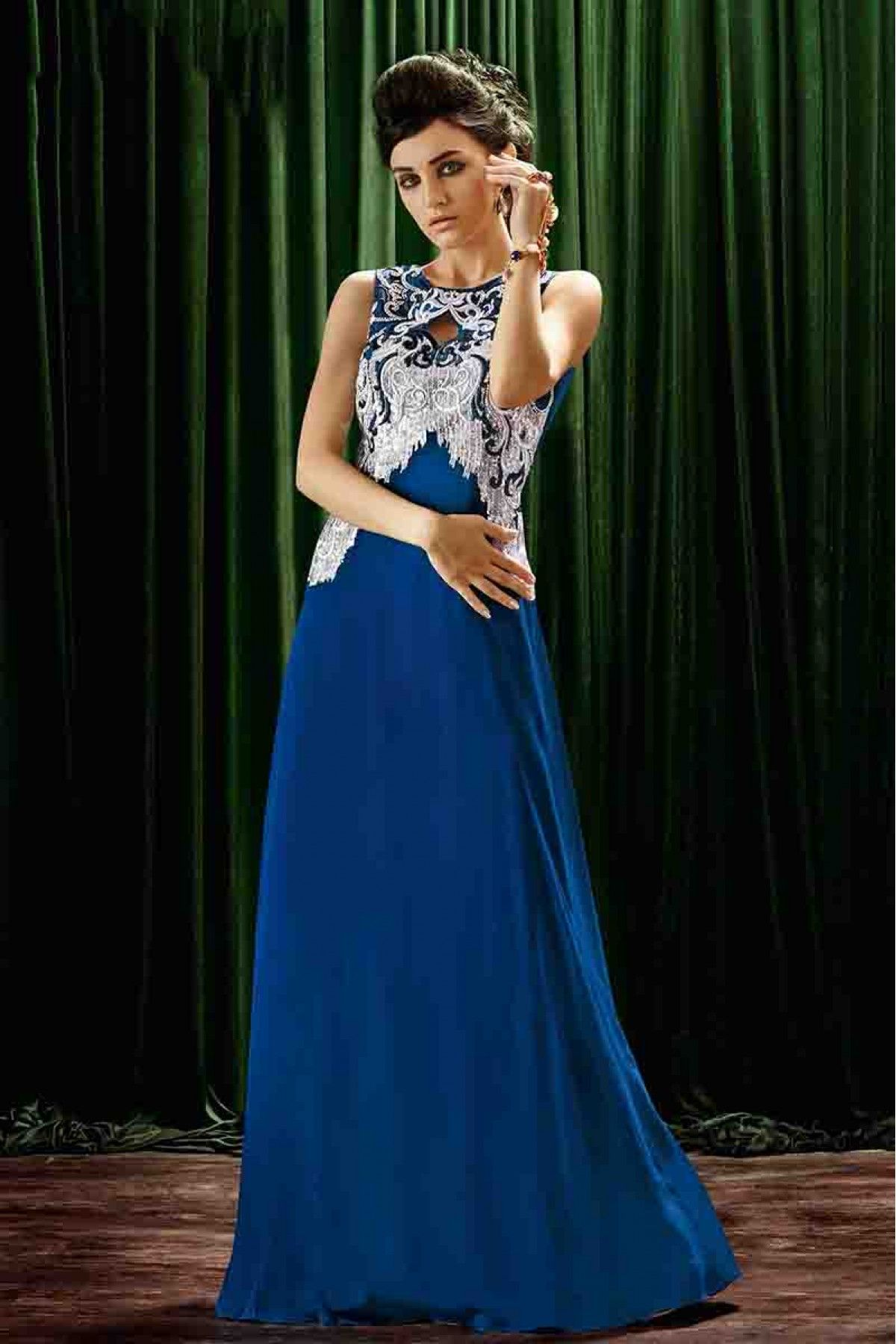 Crepe Designer Party Wear Gown in Blue Colour | Party wear, Blue ...