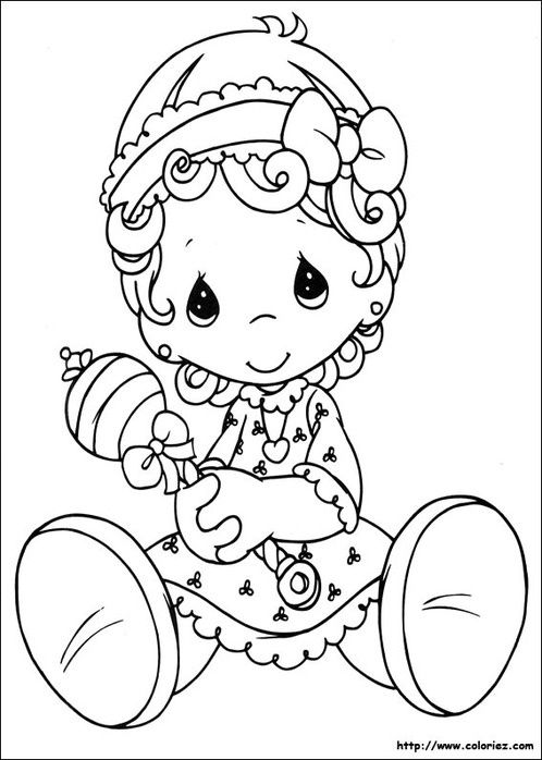 Little baby girl - Precious Moments coloring pages.