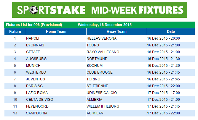 SportStake Midweek Fixtures - 16 December 2015 | SportStake