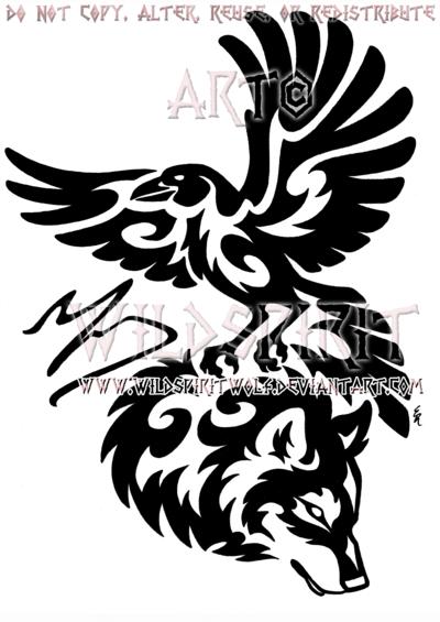 a09ab0f59856d Tribal Raven And Wolf Memorial Design by WildSpiritWolf on deviantART