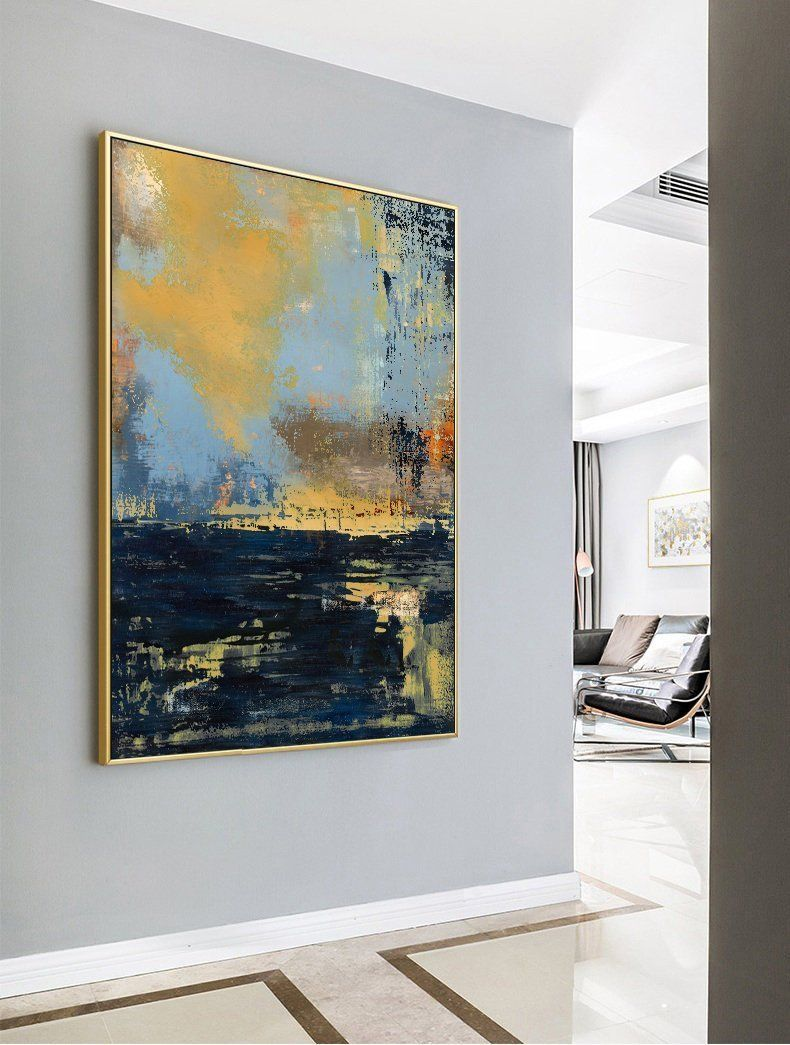 Original Deep Blue Abstract Art Large Abstract Oil Painting