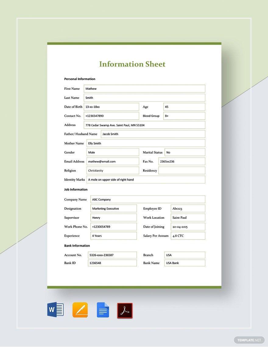 Information Sheet Template Word Google Docs Apple
