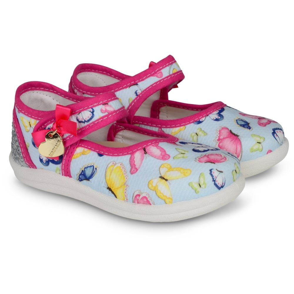 59565eb02e5a Monnalisa Girls Pink and White Pumps with Glitter Heel and Multicoloured  Butterfly Print