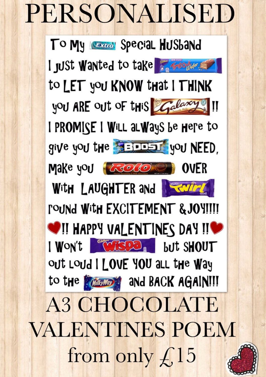 VALENTINES Chocolate LOVE POEM (can be adapted and