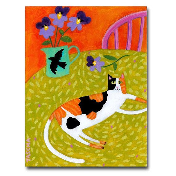 Calico Cat painting sweet cat folk art kitty on a table by tascha
