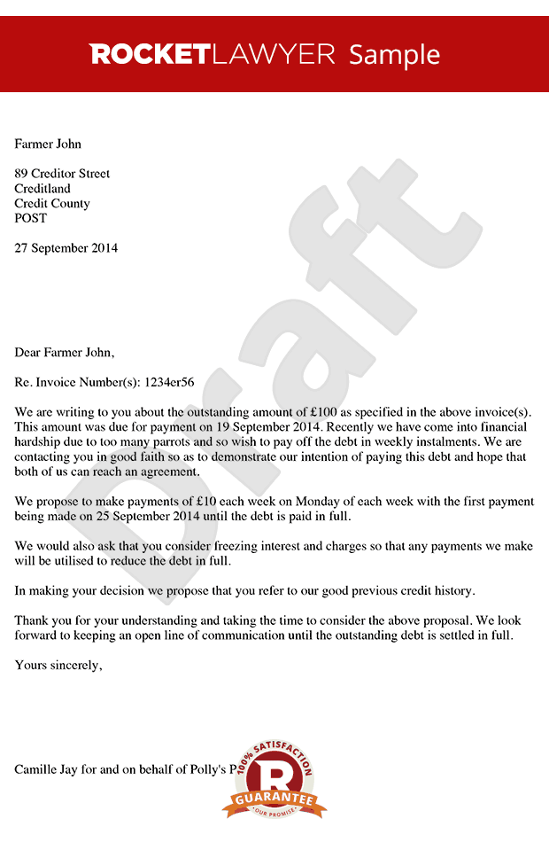 Letter Proposing For Payment In Instalments Payment Plan
