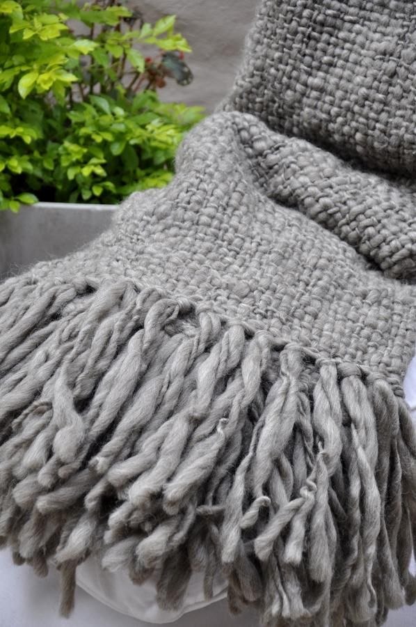 Chunky Knit Blanket - Flame Grey Wool Throw   Blanket, Gray and ...