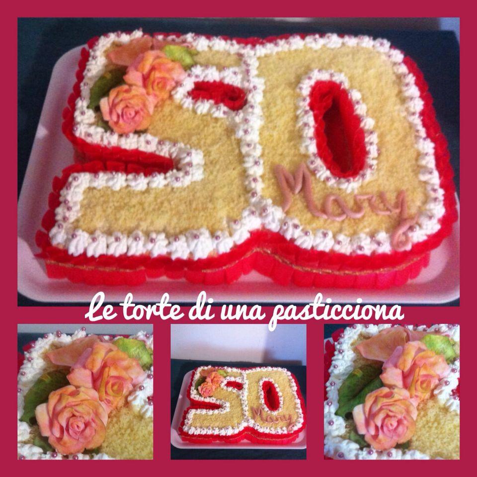 Torta Per 50 Anni Con Rose In Pasta Di Zucchero Le Mie Torte