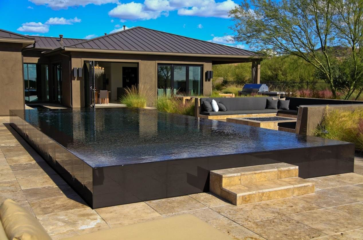 Beautiful indoor contemporaryoval gorgeous outdoor pools modern : Gorgeous  Modern Outdoor Contemporary Pool Design With Black Rectangle Infinity Pool  Marble ...