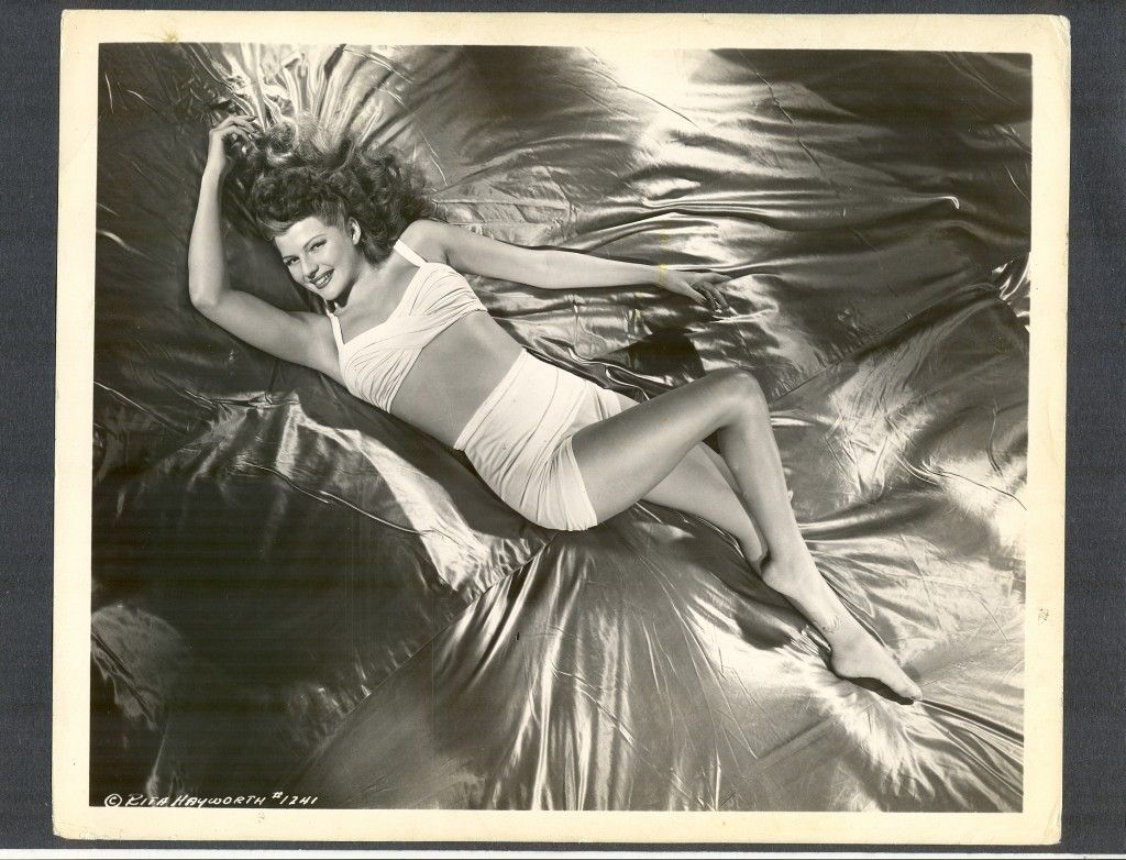 Sexy Icon Rita Hayworth Cheesecake Photo Laying on Silk Sheets CHSK | eBay
