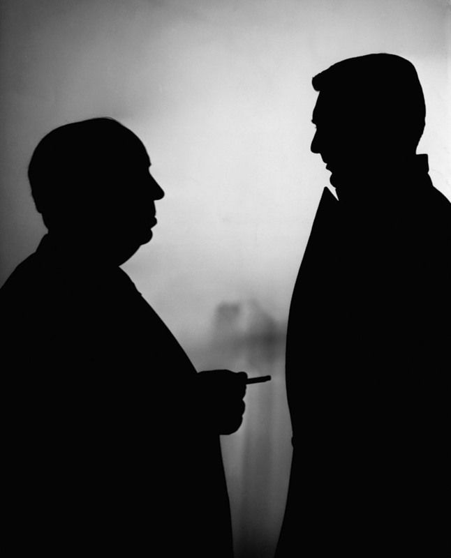 The unmistakable silhouettes of Alfred Hitchcock and Cary Grant