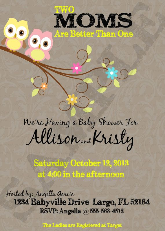 Two Moms Better Than One Owl Theme   LGBT Baby Shower Printable Invitation    BSL5000