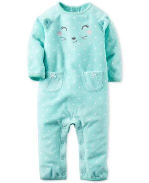 4146cfb1 Carter's Baby Girls' Dot-Print Animal-Face Jumpsuit - Blue 9 months ...