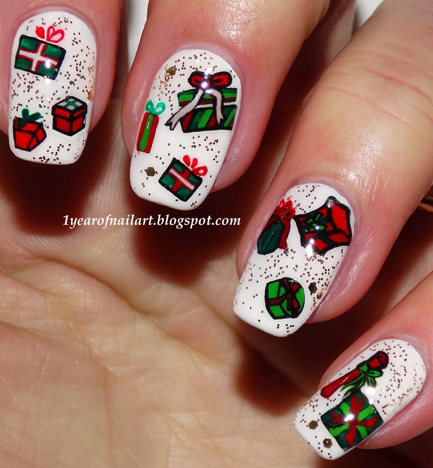 Christmas Present Nail Art | Christmas Nails | Pinterest | Swatch ...