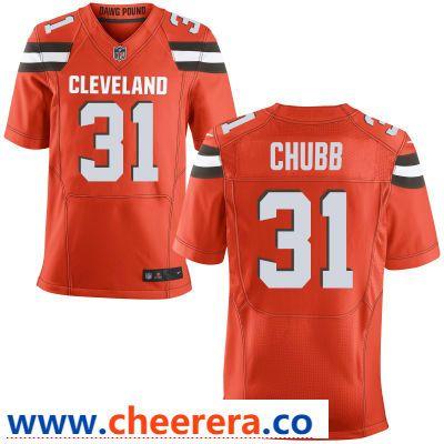 92173ca2489 Men s Cleveland Browns  31 Nick Chubb Orange Alternate Stitched NFL Nike  Elite Jersey