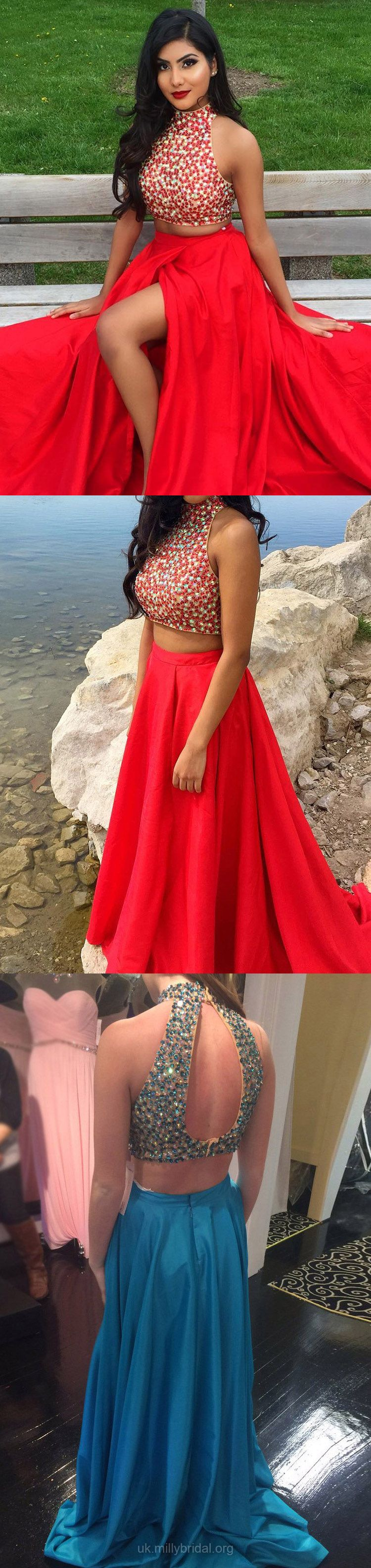 Two piece prom dresses long red prom dresses formal prom