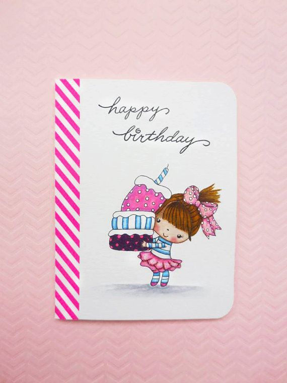 Birthday Girl Handmade Birthday Card Cute Birthday Girl Card