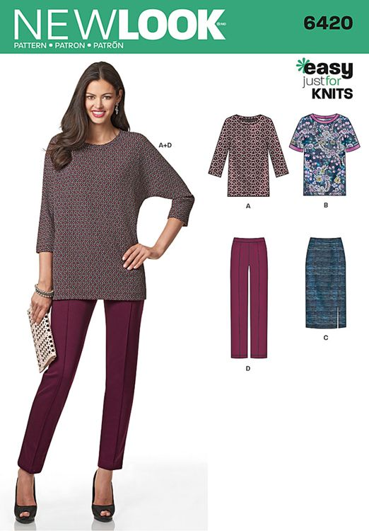 Misses Knit Skirt, Trousers and Top New Look Sewing Pattern 6420 ...