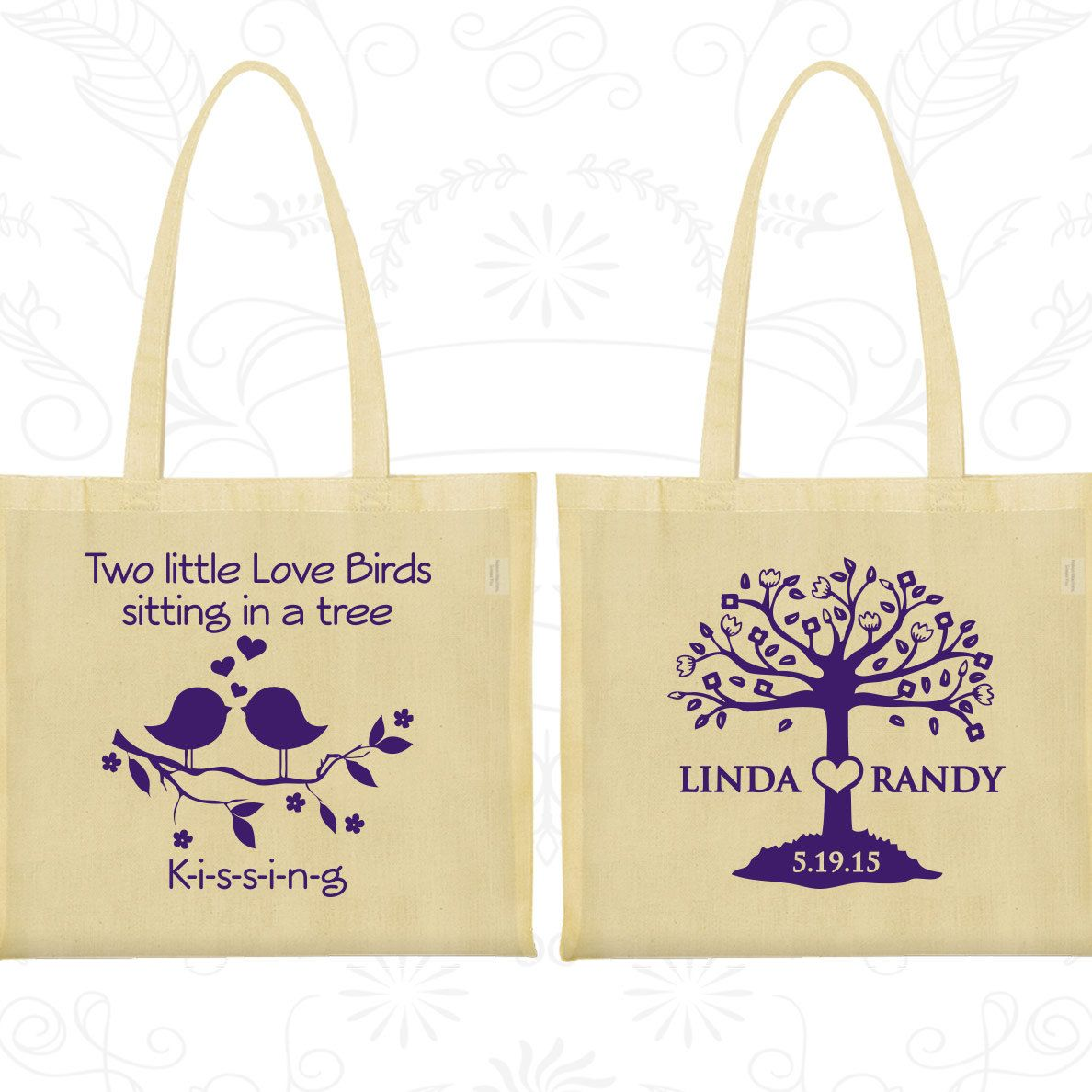 Two little love birds sitting in a tree Kissing, Wedding Favor Gift ...