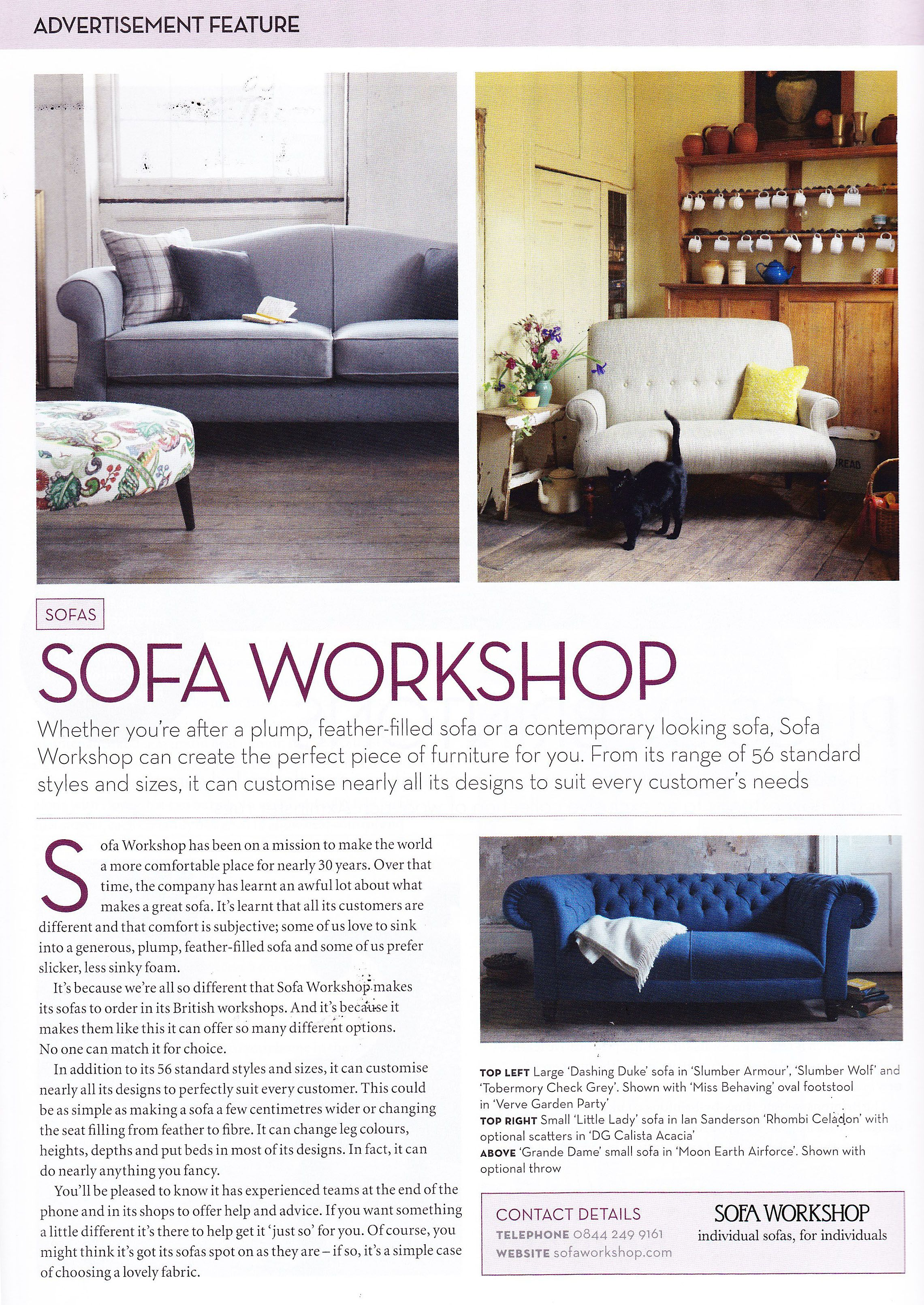 A \'Sofa Workshop\' advert in \'Homes & Antiques\' magazine features ...